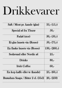 drikkevarer menu