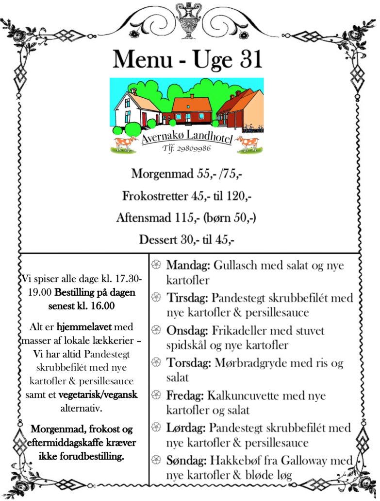 menu - uge 31